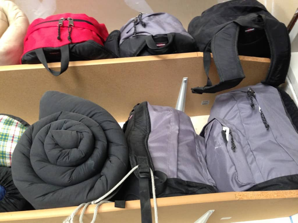 backpacks and sleeping bags