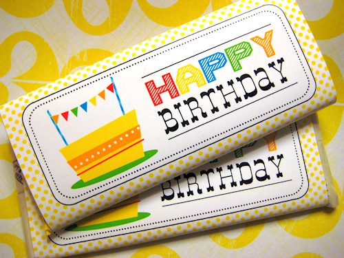 Punchy image with free printable birthday candy bar wrappers