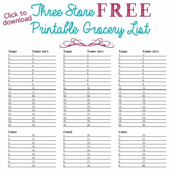 groceries shopping list template