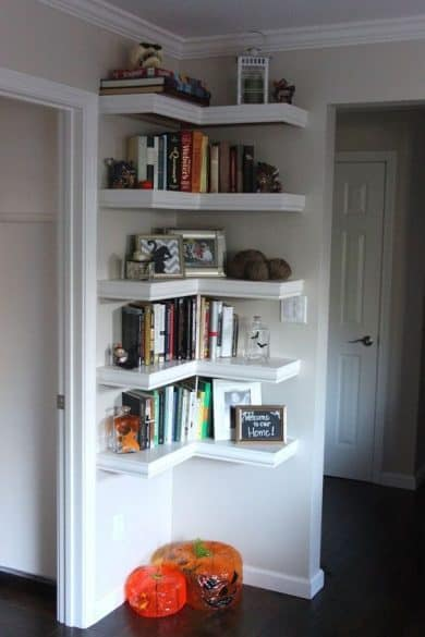You can use corner shelving for cookbooks! This is a great way to utilize  as much space as possible in your kitchen.