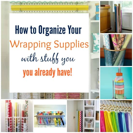 Organize your wrapping supplies with everyday objects!
