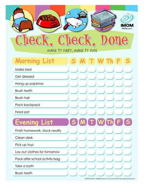 child chore list template