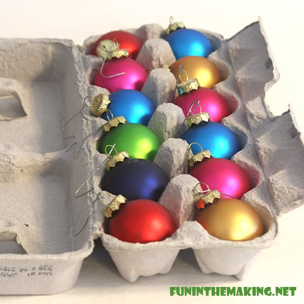 10 storage ideas for christmas decorations the organized mom for Christmas decorations using egg cartons