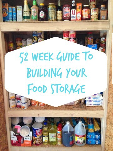 This plan will end up providing you with sufficient food for two for one year. Go ahead and purchase more to accommodate your family. & 52 Week Guide to Building Your Food Storage - The Organized Mom