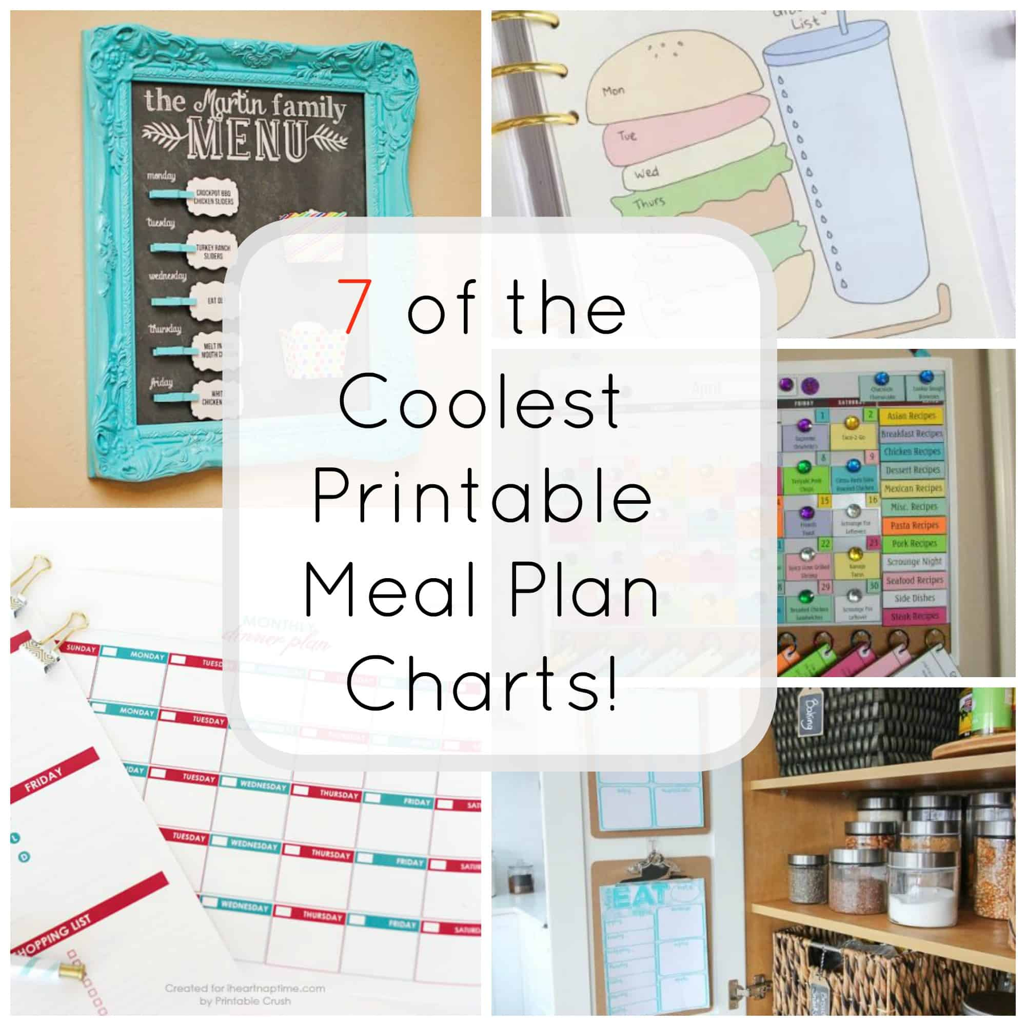 7 Printable Meal Plan Charts for Easy Dinner Ideas - The Organized Mom
