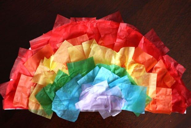 Fun Spring Crafts For Kids 1 Tissue Paper Rainbows