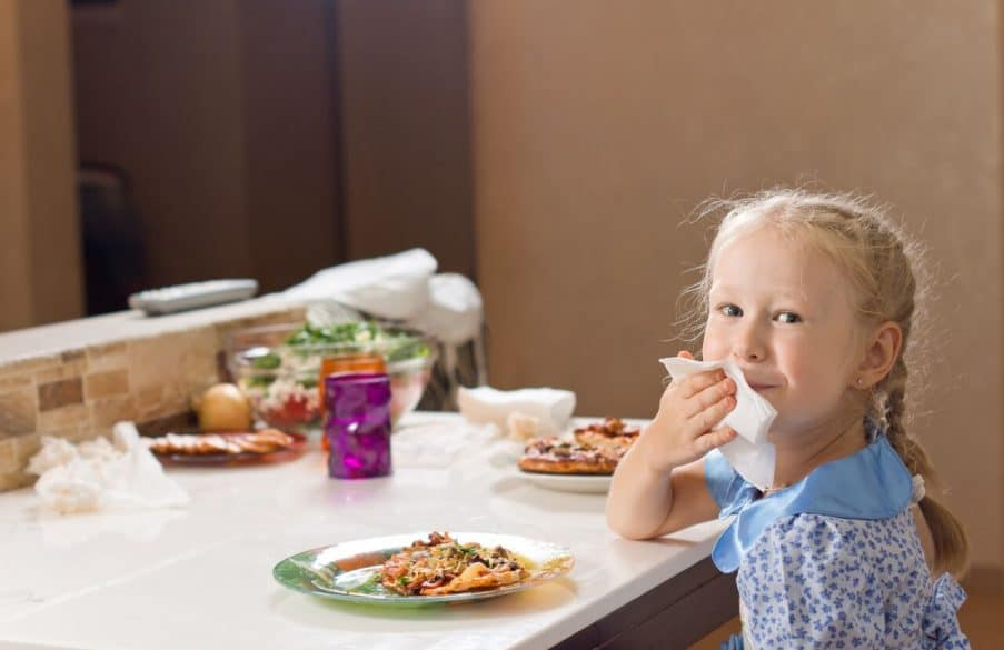 learn respect at the dinner table little girl eating