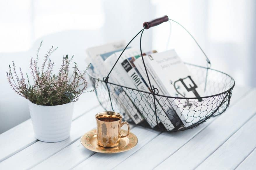 books in wire basket