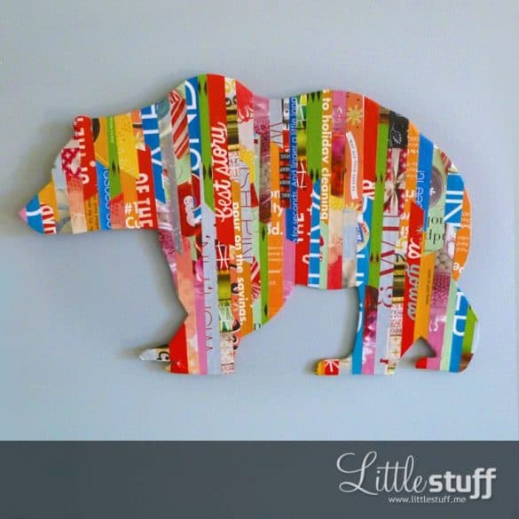 bear silhouette made from strips of paper