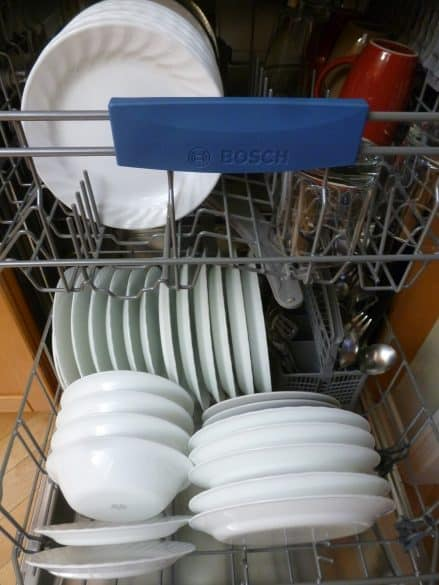 white dishes in dishwasher