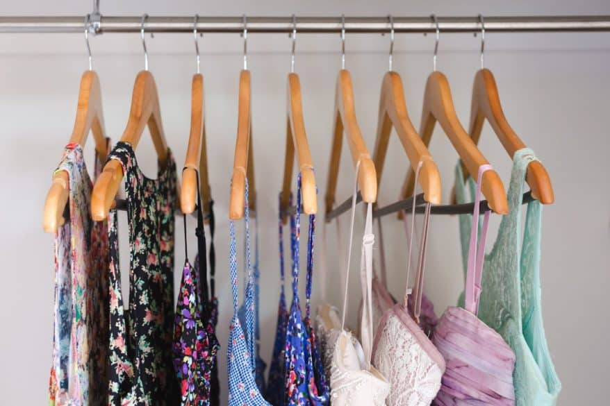 clothes on wooden hangers