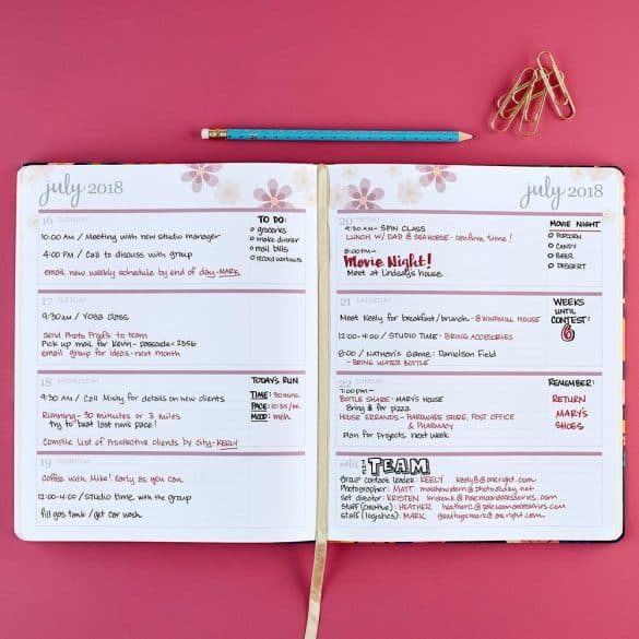 hardbound planner page