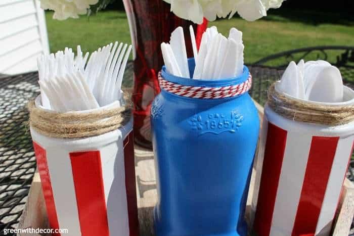 fourth of july silverware jars