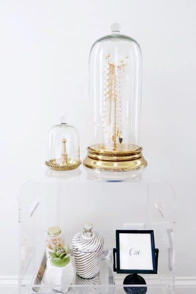 glass dome with jewelry