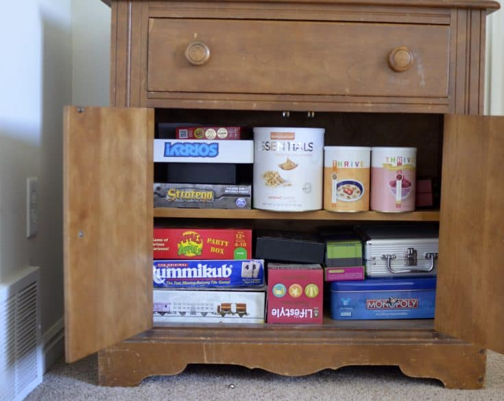 food storage in an end table or cabinet