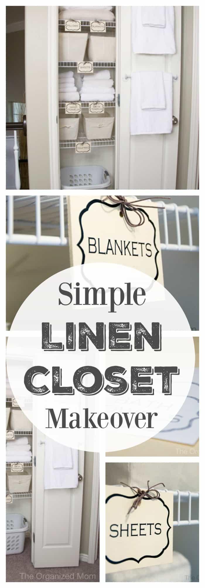 Simple linen closet makeover