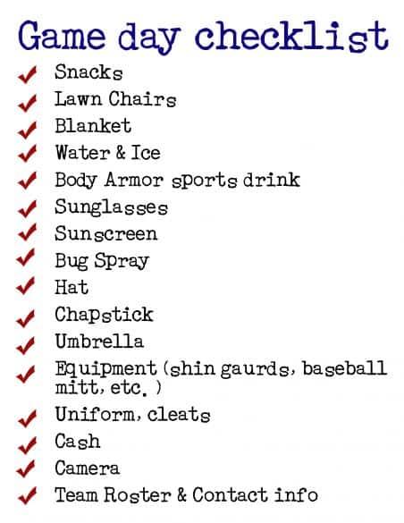 game day checklist
