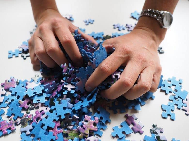 puzzle pieces organized