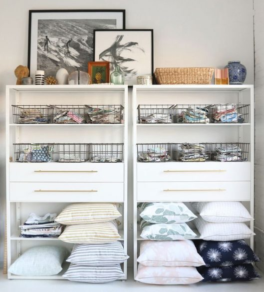 Open shelving, linen organization, wire baskets, affordable