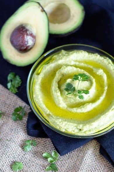avocado, hummus, dip