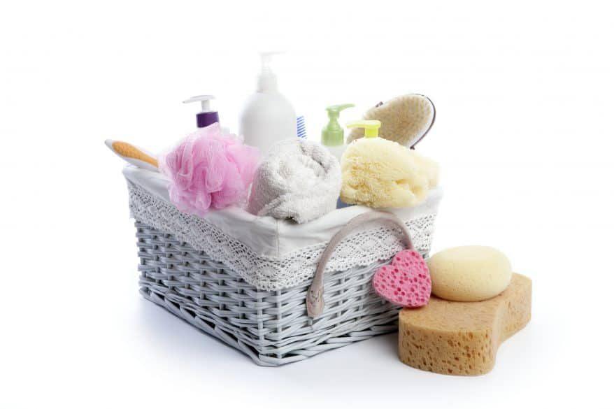 basket for house guests toiletries