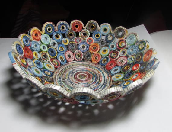 bowl made from rolled up magazine pages