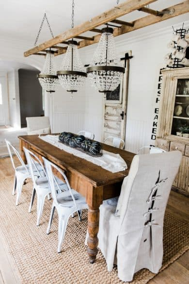 ladder chandelier, dining room decorating