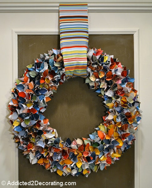 DIY wreath made from paper