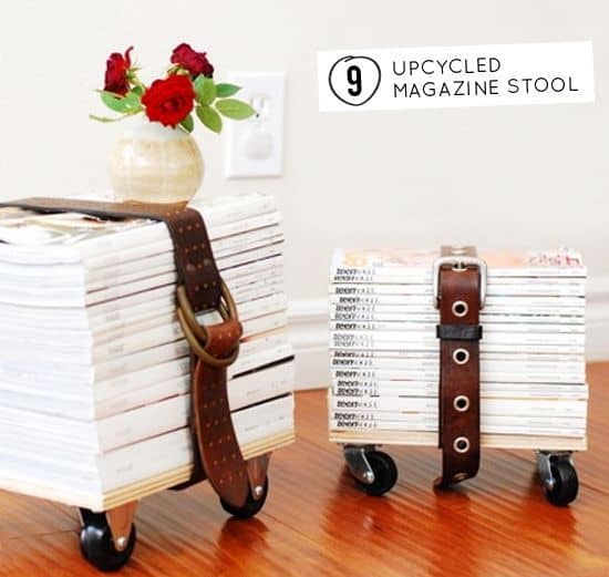 stool made out of a stack of magazines