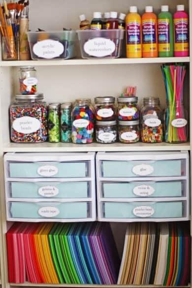 crafts supplies in storage