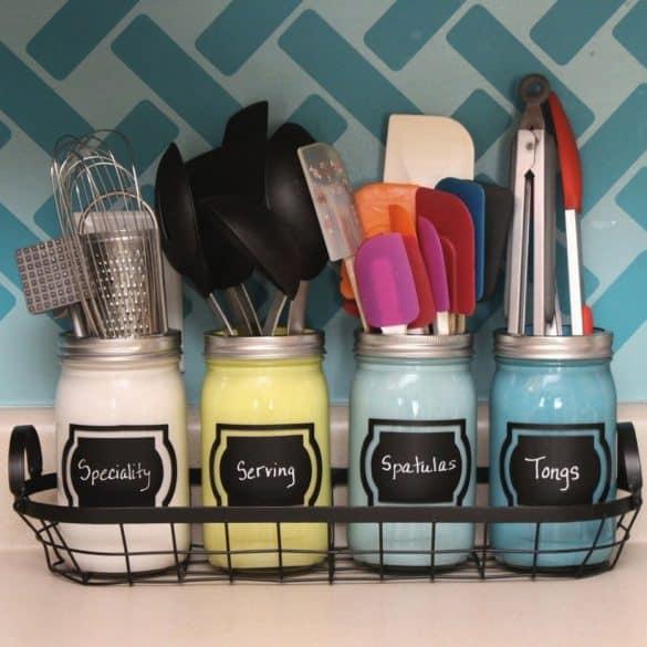 kitchen utensils stored in jars