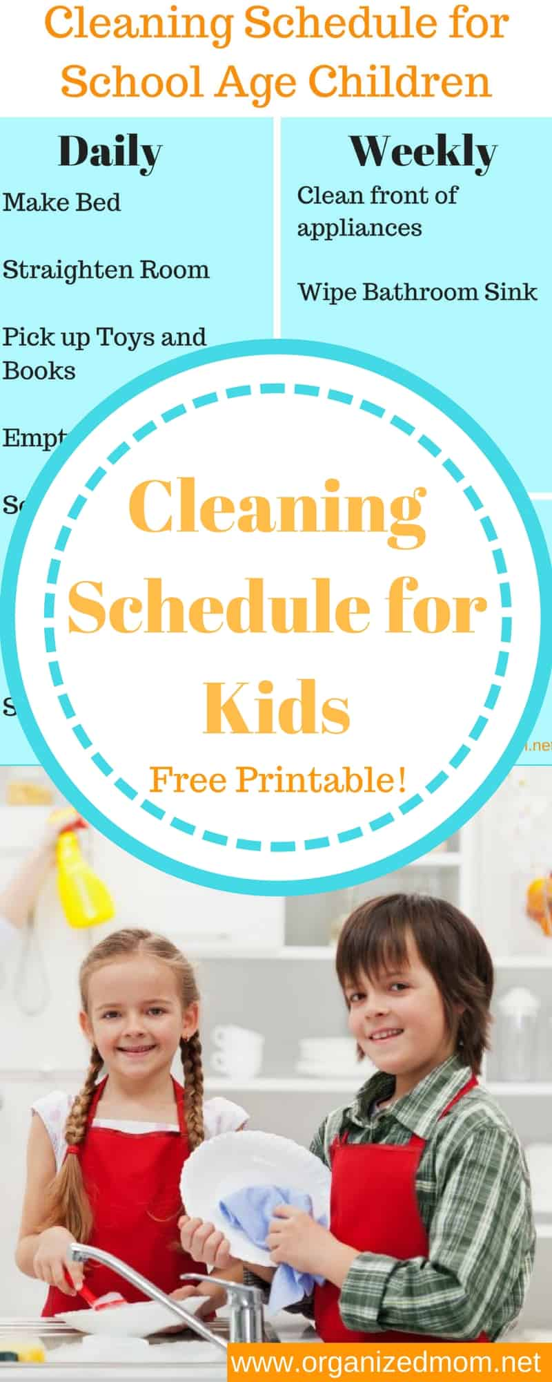 Cleaning--Cleaning Schedule for Kids**Free Printable--The Organized Mom