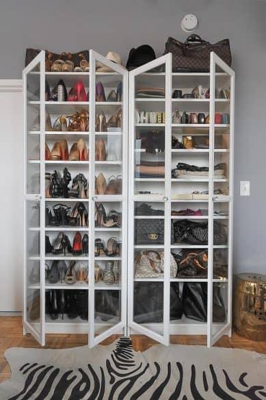 glass shoe cabinet