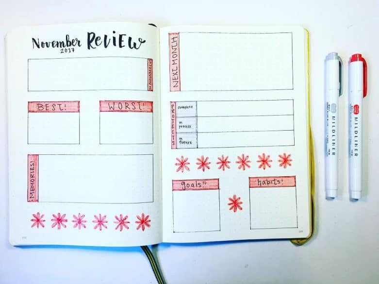 Bullet journal page spread