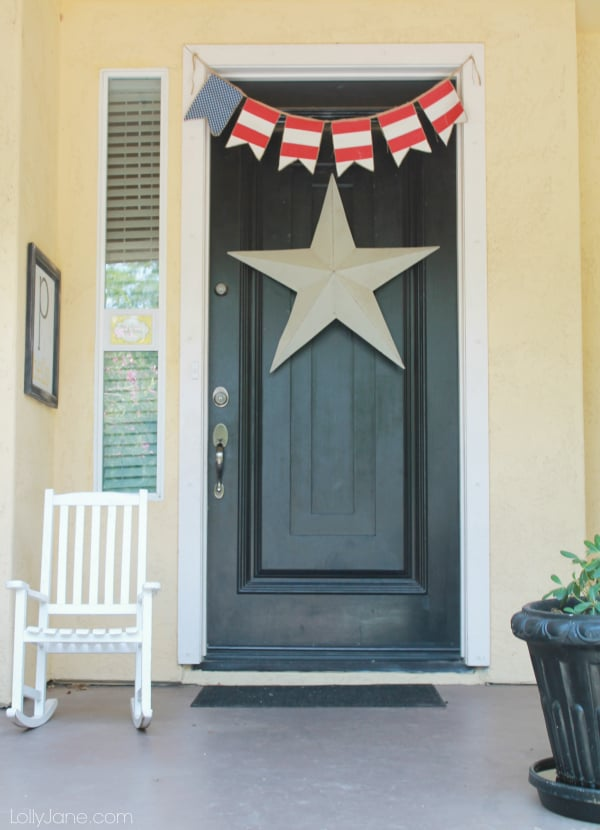 front door with star and banner