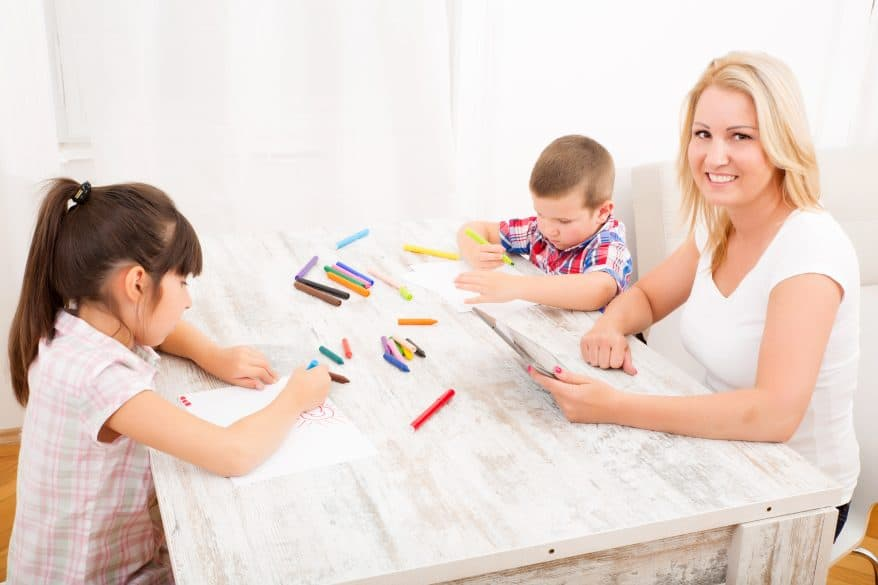 mom and kids coloring