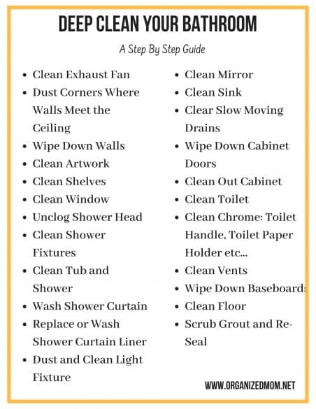 Deep Clean Your Bathroom A Step By Guide The Organized Mom
