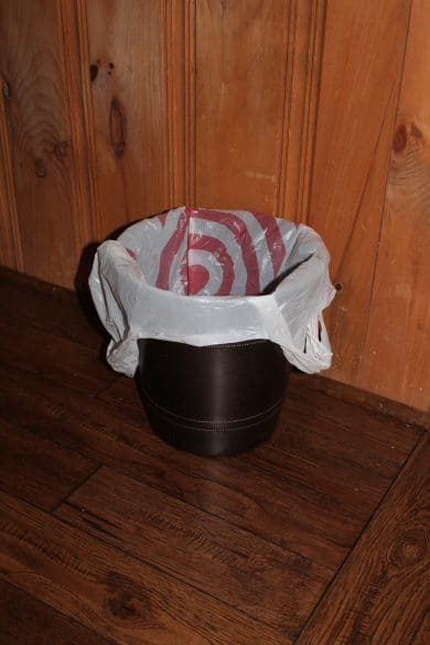 plastic bag in garbage can