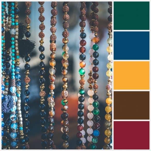 Jewel tones: Emerald, Dark Blue, Mustard, Brown, Dark Red