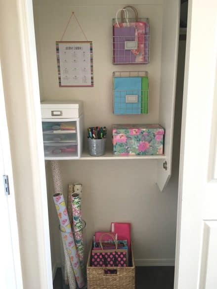 gift wrap organization closet