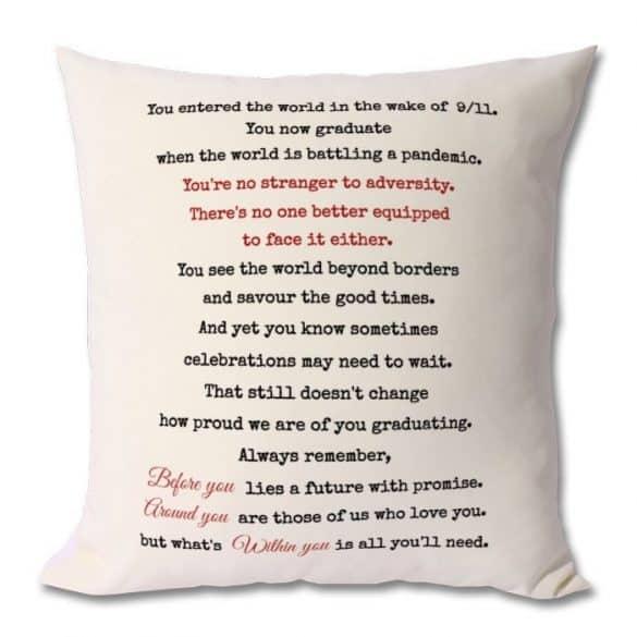 sentimental graduation pillow