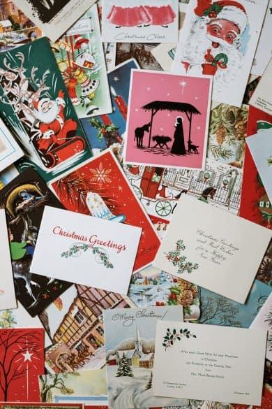 organizing Christmas cards