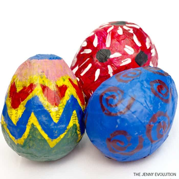 diy paper mache Easter eggs