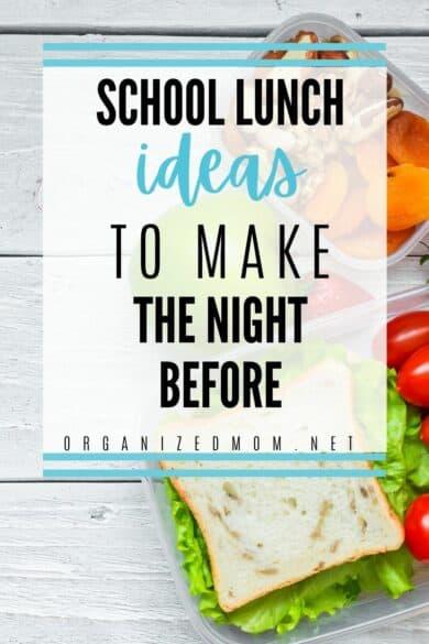 school lunch night before