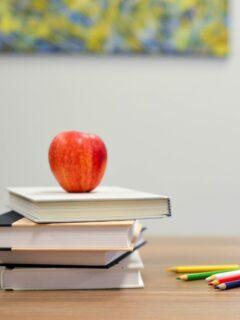 apple on desk