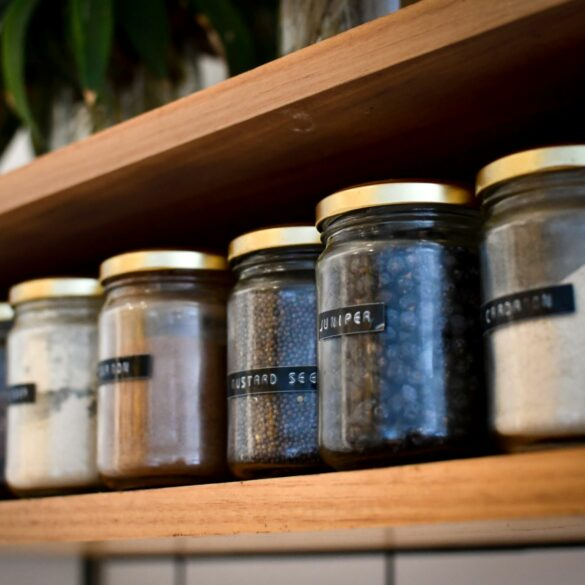 jars on shelf organize the kitchen in your new home